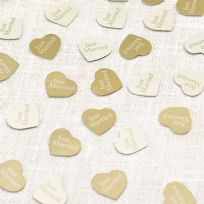 Contemporary Heart Table Confetti - Ivory & Gold (14g)